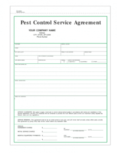 printable pest control contract template  fill online printable pest control service ticket template sample