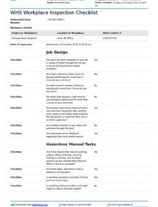 printable whs workplace inspection checklist free editable template workplace safety inspection checklist template excel