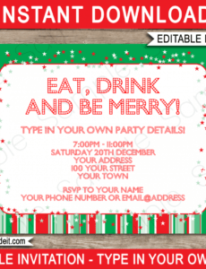 sample christmas party invitations template  red & green christmas party ticket template doc