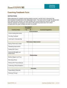 sample free 5 coach observation forms in pdf  ms word coaching checklist template doc