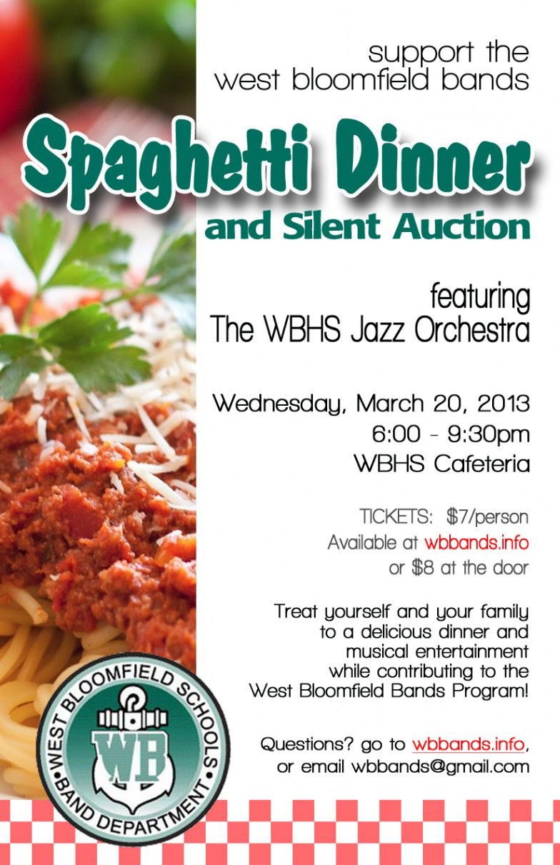 sample spaghetti dinner & silent auction  west bloomfield bands spaghetti dinner ticket template excel