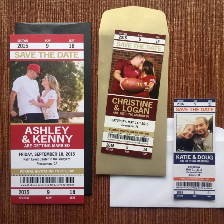 sample sport ticket wedding save the date or invitation  football baseball ticket save the date template word