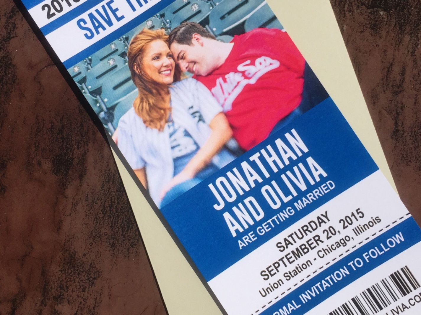 sample sports ticket save the dates wedding announcement cards  baseball  basketball football hockey soccer ticket baseball ticket save the date template doc