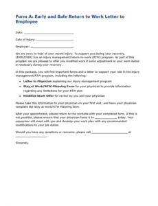 editable form a early and safe return to work letter to employee return to work note template doc