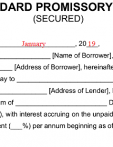 free secured promissory note template  word  pdf  eforms florida promissory note template excel