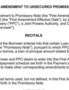 printable free printable unsecured promissory note 20 free templates amendment to promissory note template pdf