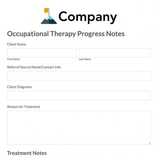 printable occupational therapy progress note template  formstack occupational therapy progress note template excel