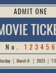 printable online vintage movie ticket ticket template  fotor design maker theatre ticket template sample