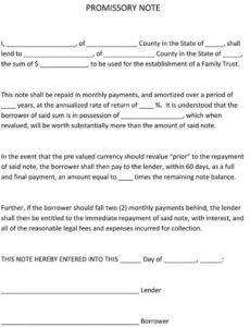 sample of 38 free promissory note templates & forms word  pdf family promissory note template doc