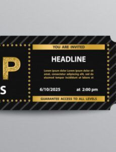 sample premium vector  vip pass admission ticket template vip ticket template doc