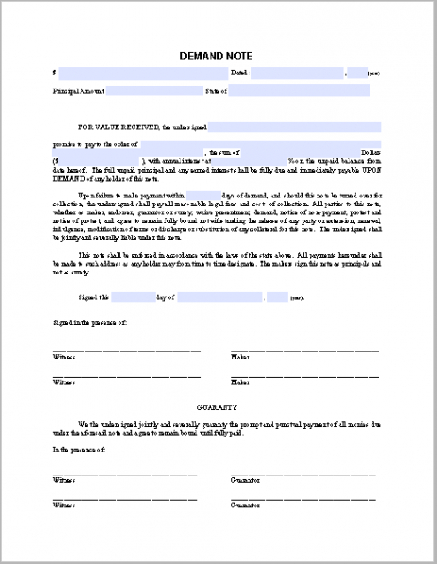 editable demand note sample  free fillable pdf forms demand note template pdf