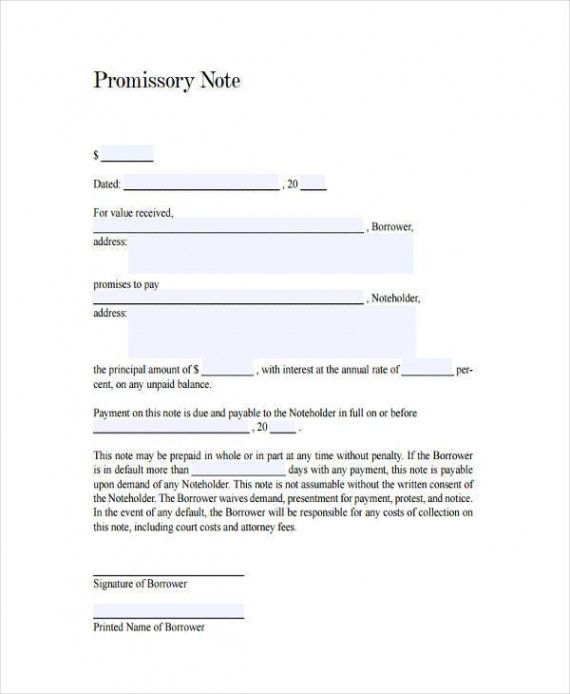 editable free 7 sample promissory note agreement forms in pdf  ms word generic promissory note template word