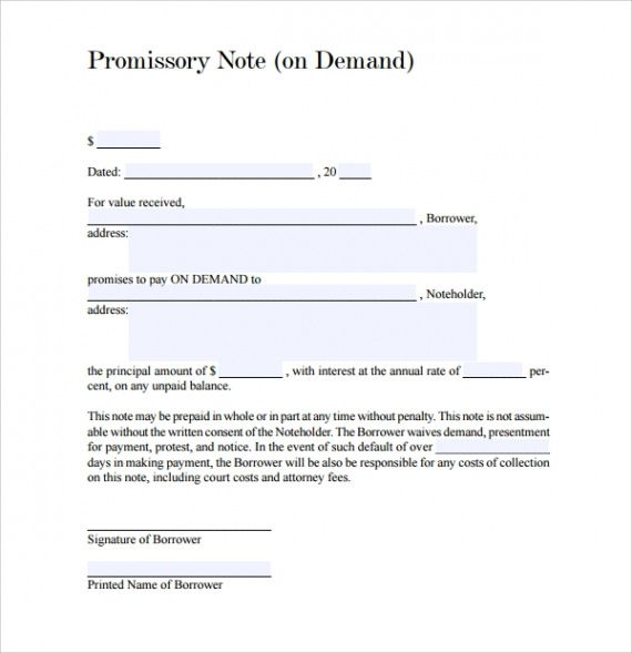 editable free 9 sample demand promissory note templates in pdf  ms word demand note template