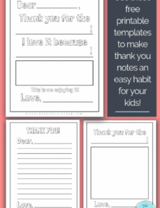 editable printable thank you cards for kids  the kitchen table classroom kids thank you note template word
