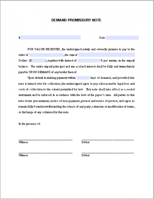 free demand promissory note template demand note template doc