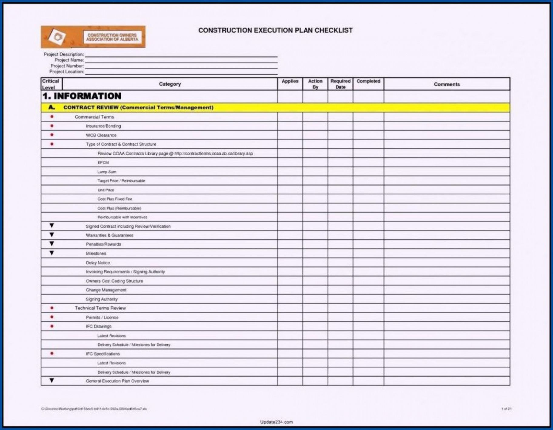 free project construction execution plan checklist template construction management checklist template example