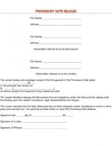free promissory note debt release forms  word  pdf release of promissory note template