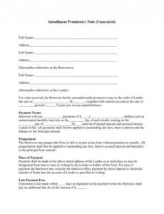 installment promissory note unsecured installment note template