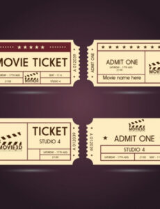 printable movie ticket templates classical horizontal style free vintage movie ticket template pdf