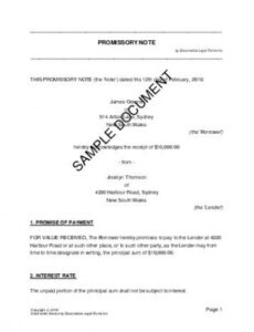 promissory note australia  legal templates  agreements australian promissory note template pdf