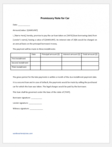 promissory note for car sample template  word & excel templates installment note template word