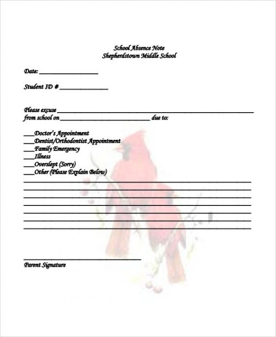 sample of free 11 absence note samples in ms word  pdf school absence note template doc