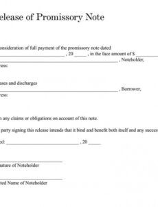 sample of free promissory note debt release forms  word  pdf release of promissory note template pdf