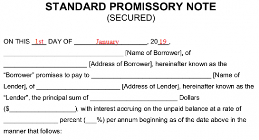 sample of free secured promissory note template  word  pdf  eforms texas promissory note template word