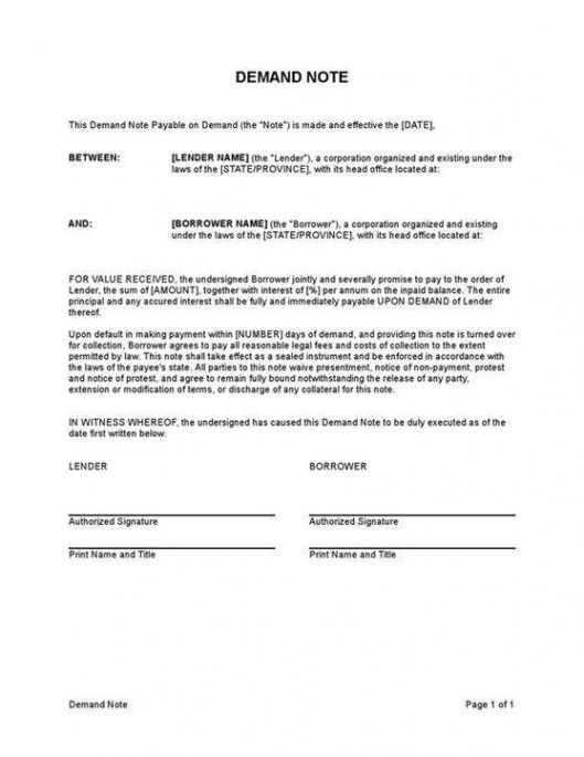 sample of sample demand note template  demand note sample document demand note template doc