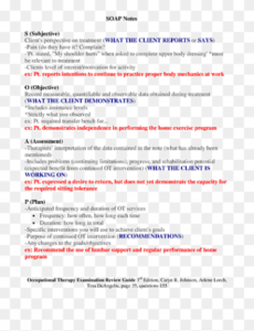 sample of soap note occupational therapy examination review guide pain management soap note template pdf
