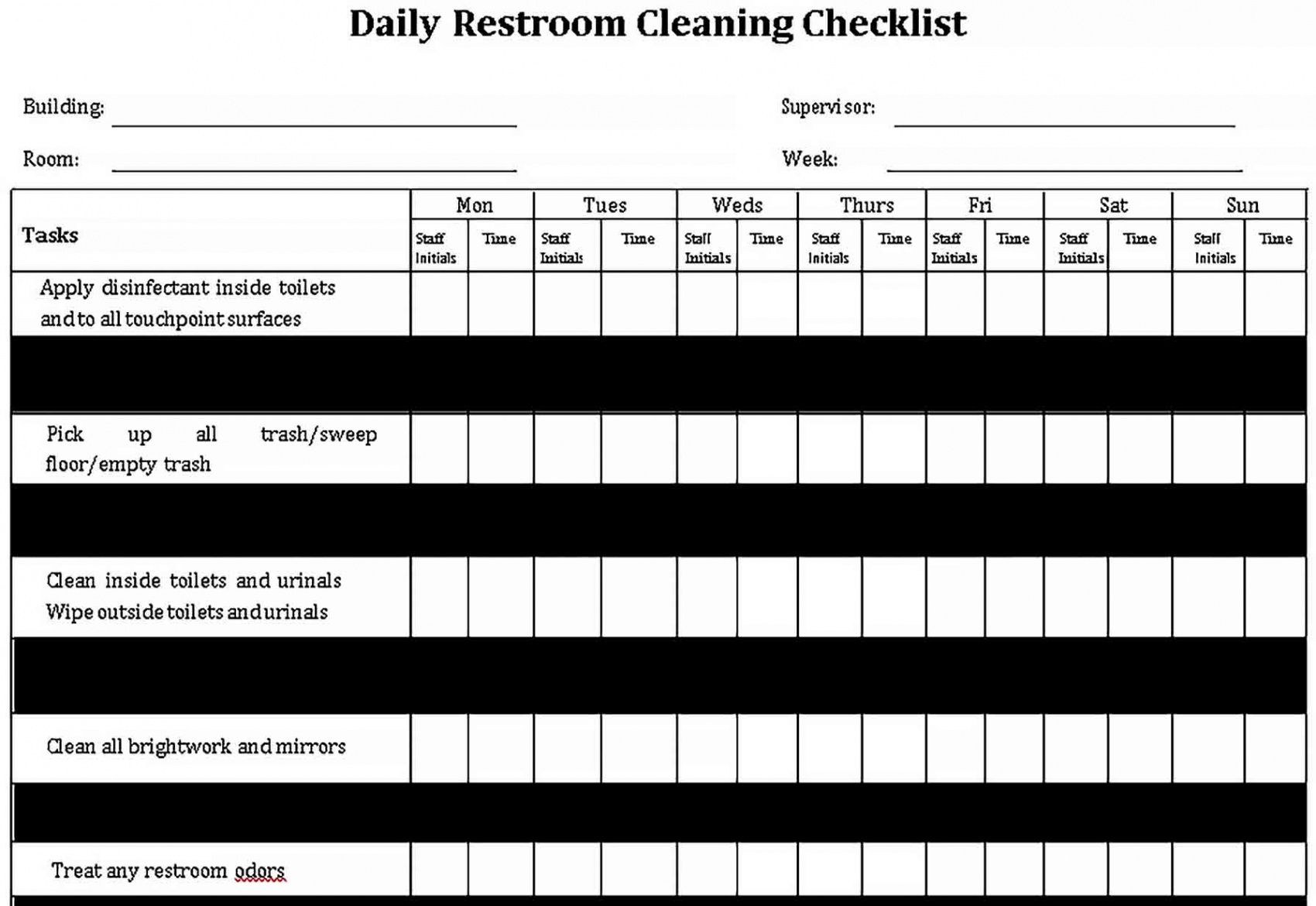 Bathroom Cleaning Checklist Template  Example