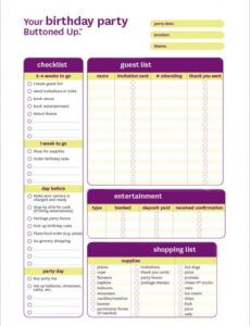 Birthday Party Checklist Template Excel Sample