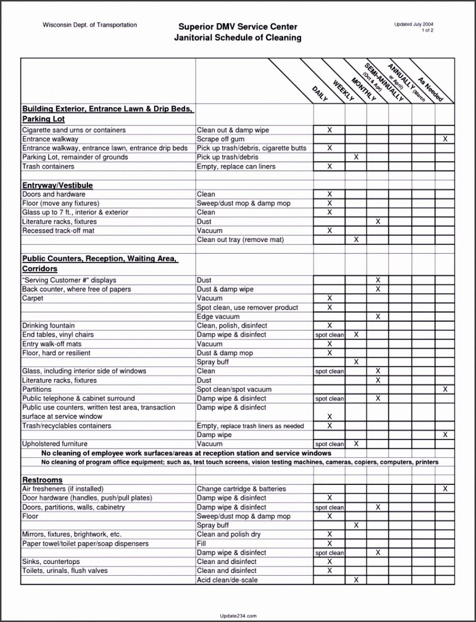 Costum Cleaning Business Checklist Template Word Sample