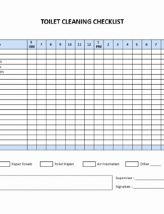 Editable Bathroom Cleaning Checklist Template Excel Example
