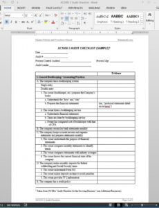 Editable Process Audit Checklist Template Excel Example