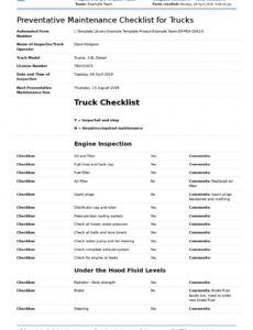 Editable Truck Maintenance Checklist Template Excel
