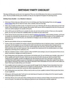 Free Birthday Party Checklist Template Doc Sample