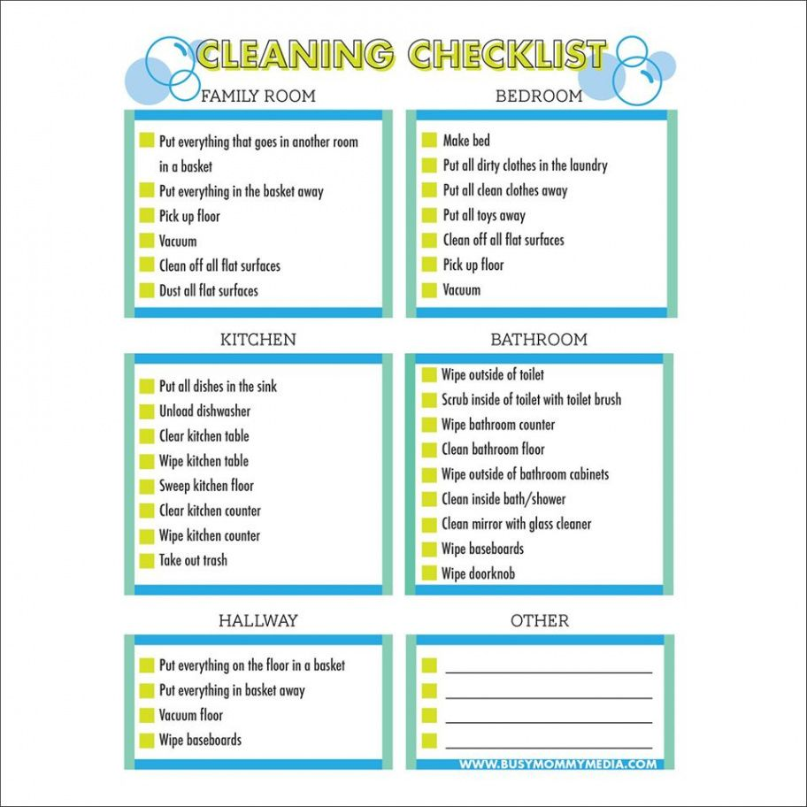 Printable Preschool Cleaning Checklist Template Pdf Example