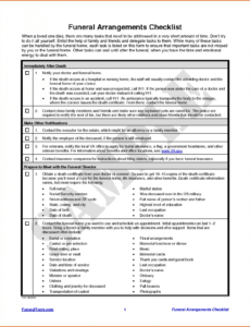 Professional Funeral Planning Checklist Template Excel