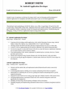 Android Developer Resume Template Excel