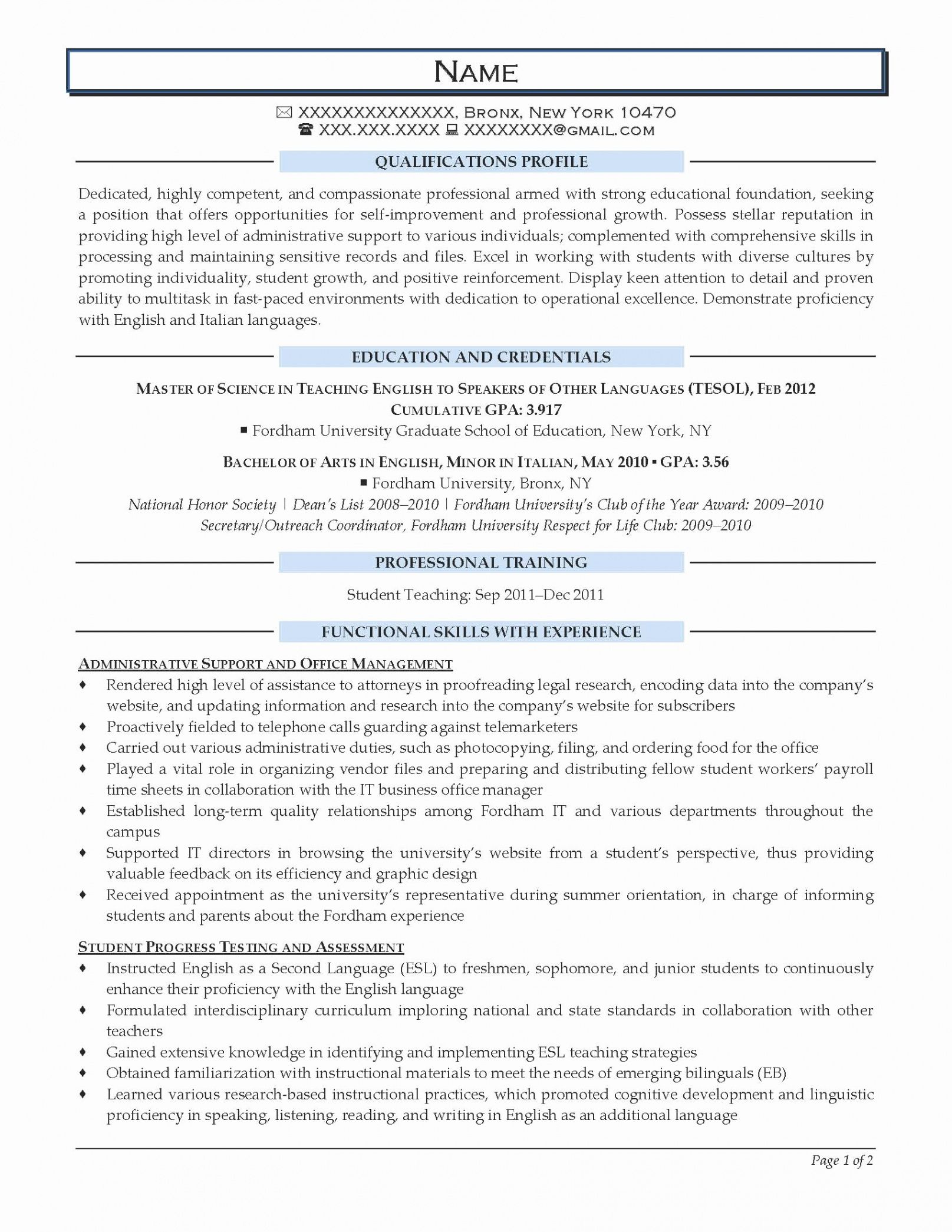 Best Entry Level Sales Resume Template Pdf