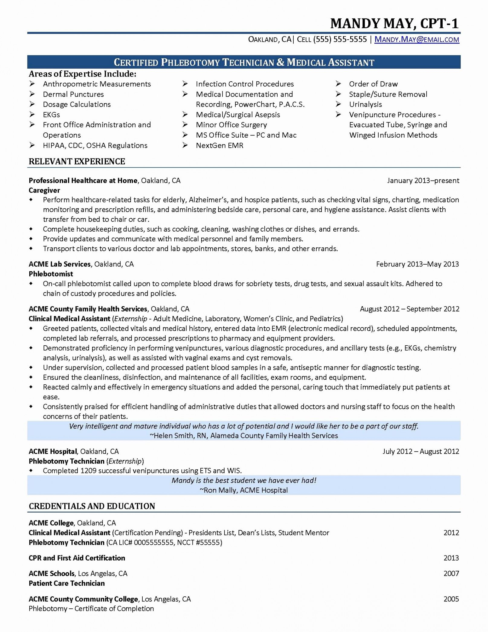 Costum Resume Template For Medical Assistant Word Example