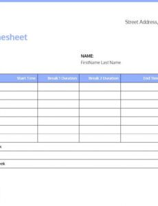 Costum Timesheet Hours Template Excel Sample