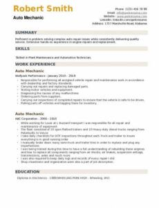Editable Auto Mechanic Resume Template  Example