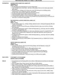 Editable Office Assistant Resume Template Excel Example