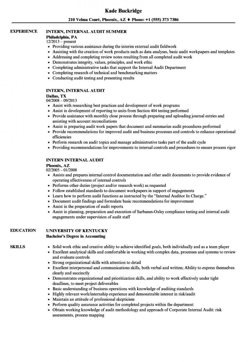 Editable Resume Template For Internal Position Excel Sample