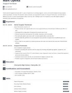 Editable Surgical Technologist Resume Template Doc