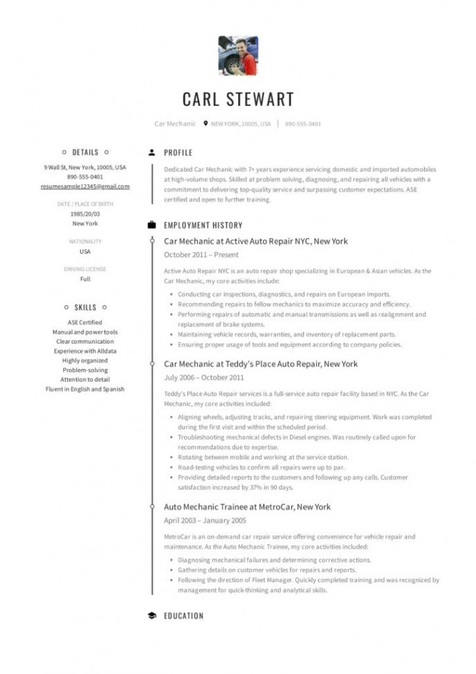 Free Auto Mechanic Resume Template Word