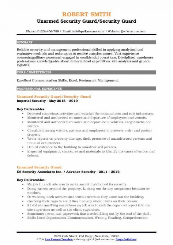 Free Resume Template For Security Guard Excel Sample