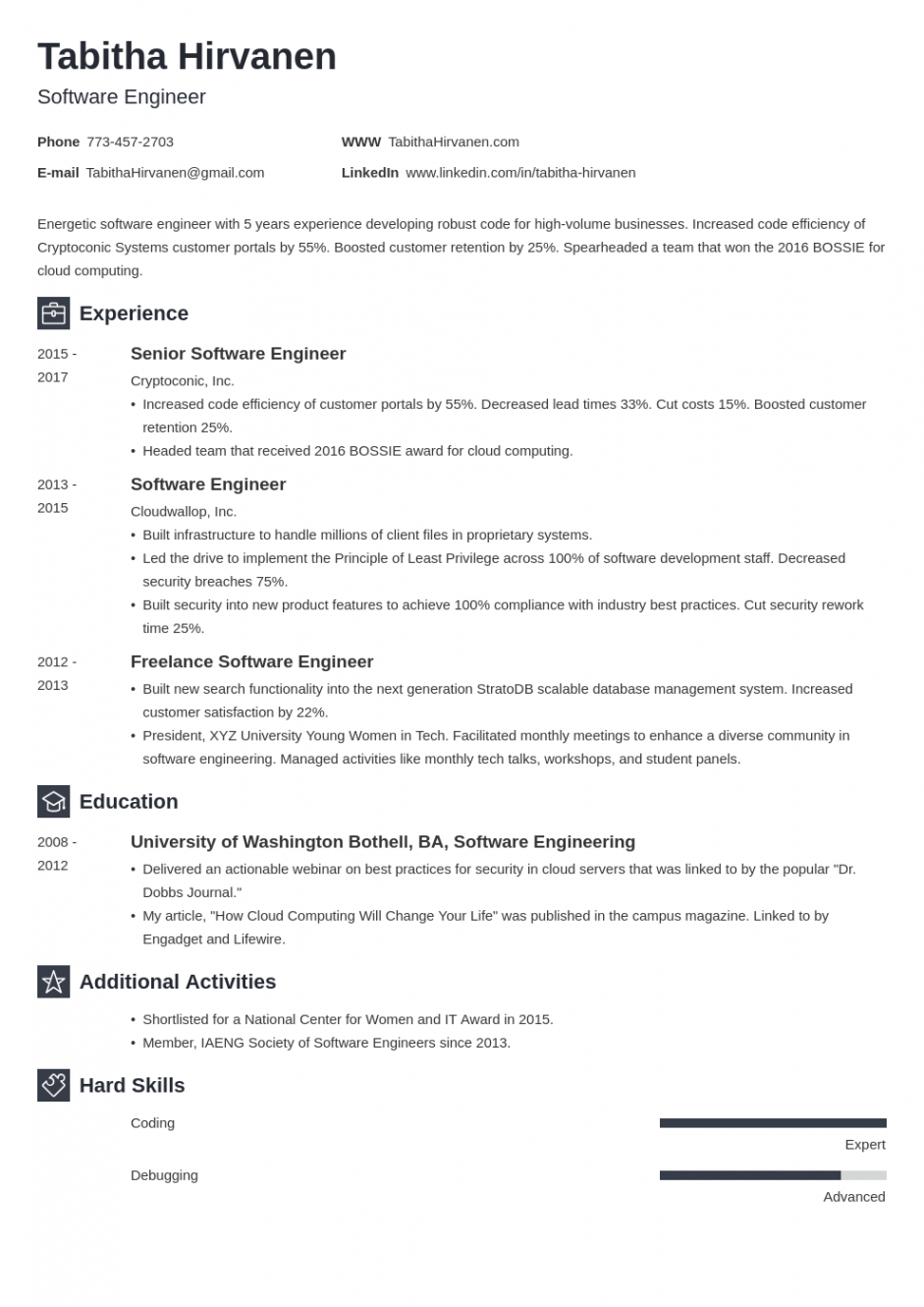 Free Software Engineering Resume Template Excel